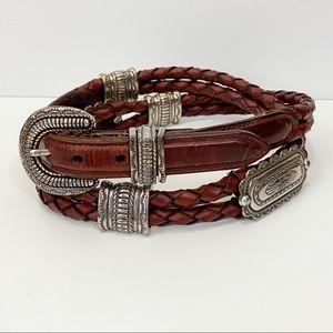 JUSTIN Leather Western Concho Braided Belt